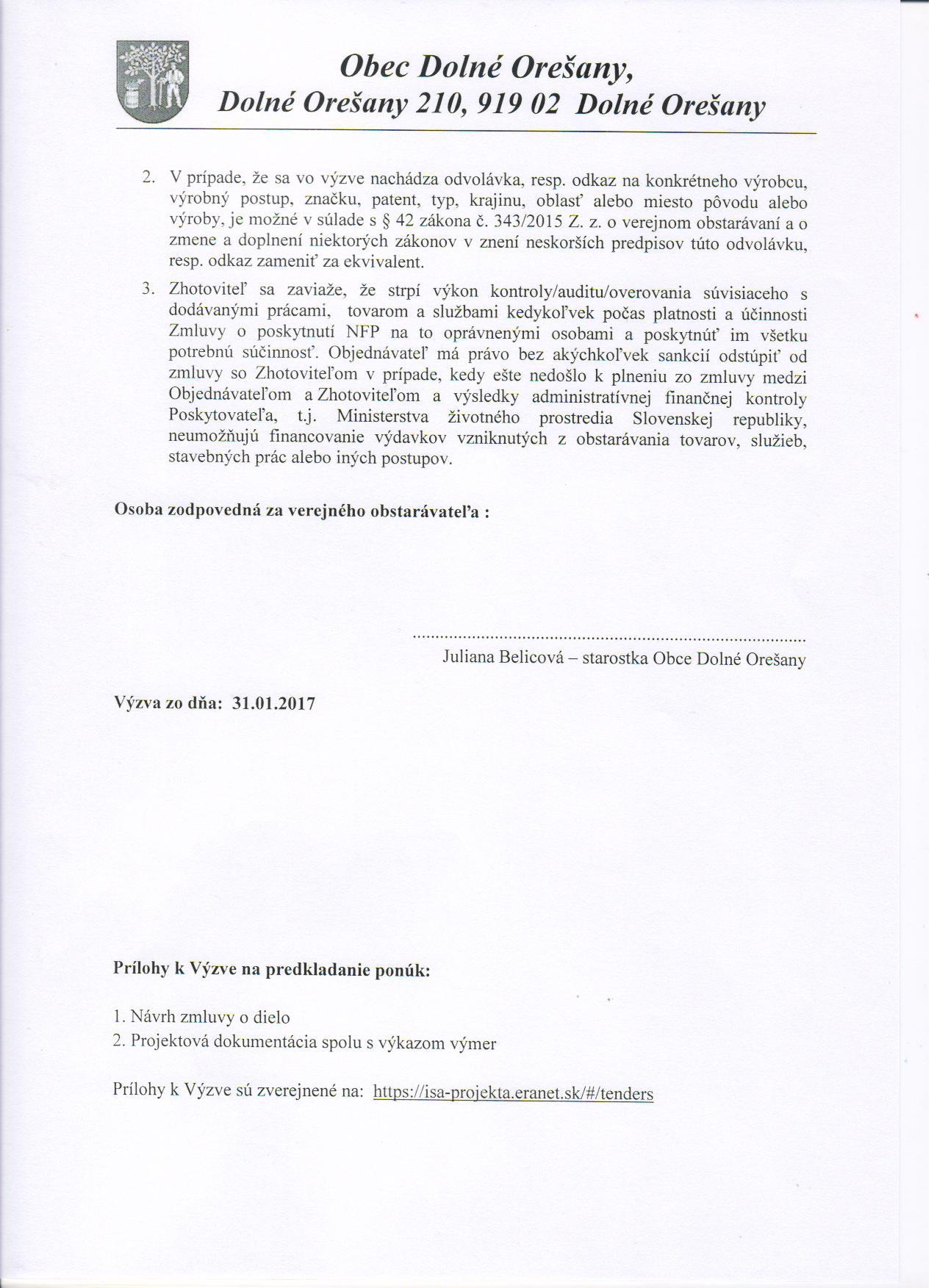 Oficiálne stránky obce Dolné Orešany - Verejné obstarávanie cb061b50e32